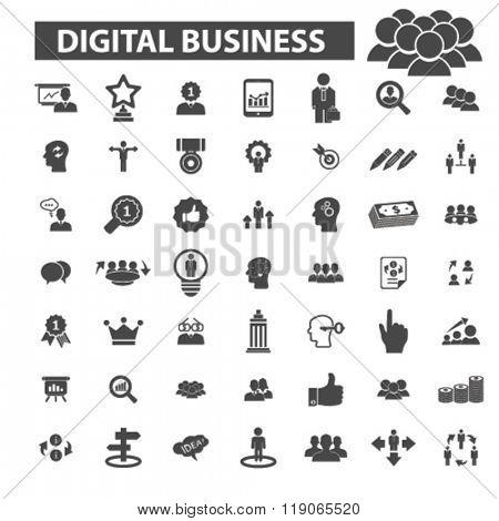 internet business icons, internet business logo, digital business icons vector, digital business flat illustration concept, digital business logo, digital business symbols set, online business
