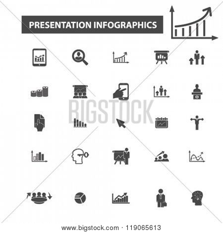 infographics icons, infographics logo, presentation icons vector, presentation flat illustration concept, presentation logo, presentation symbols set, meeting, chart