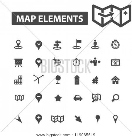 navigation icons, navigation logo, map icons vector, map flat illustration concept, map infographics elements isolated on white background, map logo, map symbols set, compass, city, direction, pin