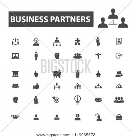 management icons, management logo, partners icons vector, partners flat illustration concept, partners infographics elements isolated on white background, partners logo, partners symbols set, business