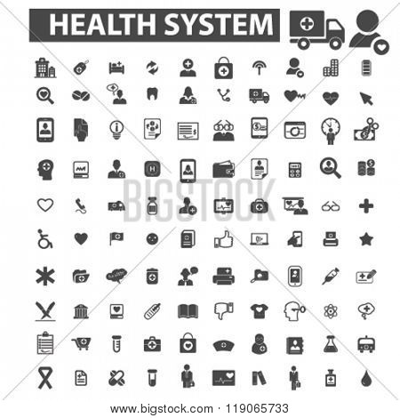 health system icons, health system logo, medicine icons vector, medicine flat illustration concept, medicine infographics elements isolated on white background, medicine logo, medicine symbols set