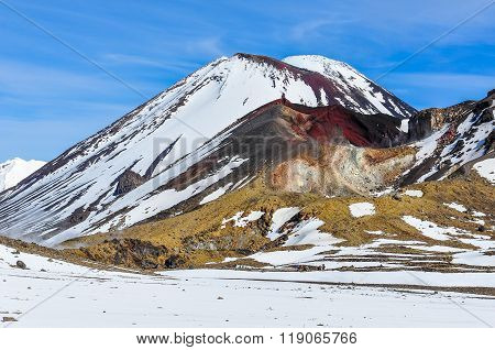 Intense Colors Of Red Crater In The Tongariro National Park, New Zealand
