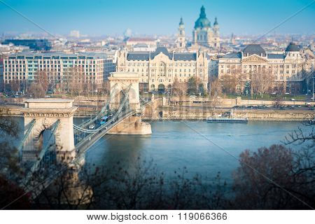 Chain Bridge In Budapest, Hungary, Europe.