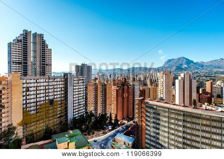 Modern Skyscrapers Of Benidorm. Benidorm Is A Coastal City In Alicante, Costa Blanca. Spain