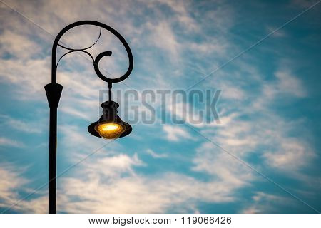 Street Light At Sunset In Budapest, Europe.