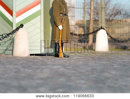Soldier On Guard At Buda Castle Hill.