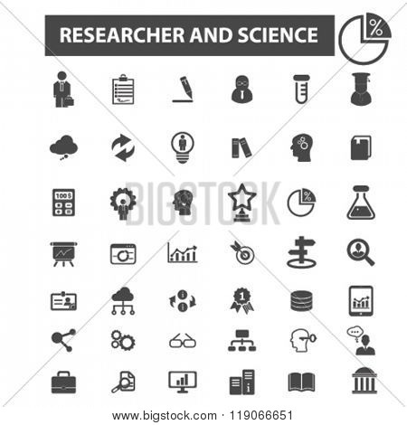 Постер, плакат: researcher icons researcher logo science icons vector science flat illustration concept science , холст на подрамнике