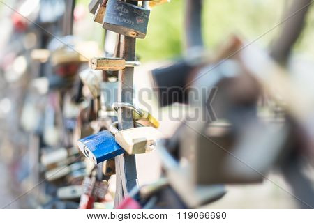 Love Padlocks Attached To The Bridge. Europe.