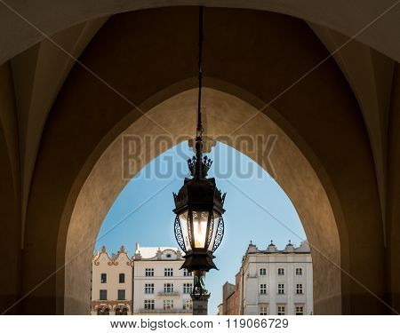 Old Lamp And Krakow Architecture. Poland, Europe.