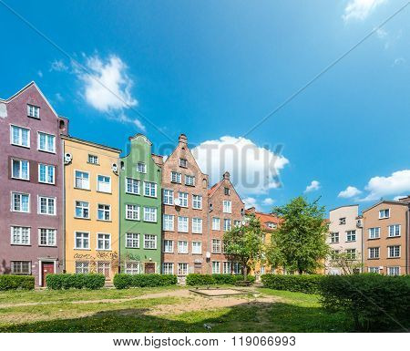 Old Town Houses In Gdansk, Poland, Europe.