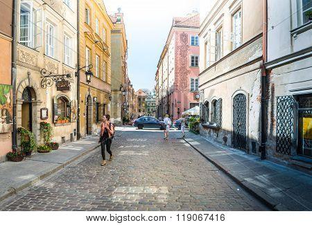 Street Panorama In Warsaw, Poland, Europe.