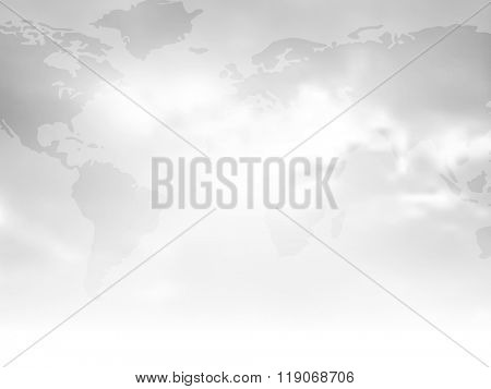 Gray background with flat world map and abstract cloudy sky fading to white