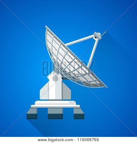 Colorful Satellite Uplink Dish Antenna Illustration.