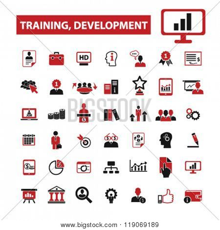 training icons, training logo, learning icons vector, learning flat illustration concept, learning infographics elements isolated on white background, learning logo, learning symbols set, study, teach