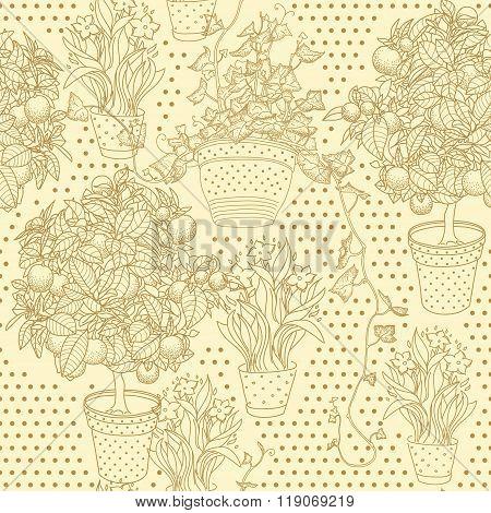 Garden Seamless Pattern With 3 Plants In Flowerpot