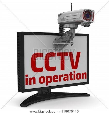 CCTV in operation. CCTV camera and monitor