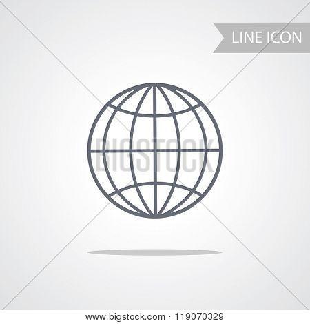 Globe Icon isolated on white Background. Globe Symbol. Line Vector Illustration