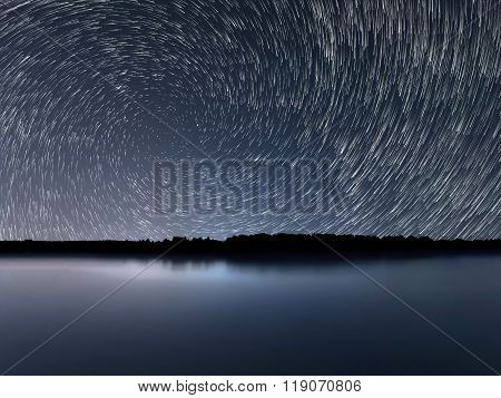 Star Trails, Beautiful Blue Night reflection