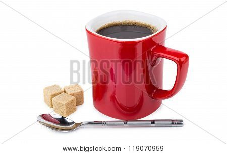 Red Mug With Hot Coffee, Sugar Cubes And Spoon