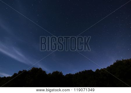 Beautiful night sky with the constellation Ursa Major, Ursa Minor, Draco