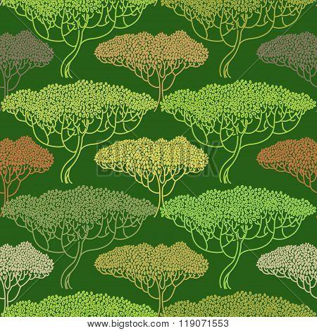 Stylized Abstract Autumn Tree Illustration Pattern