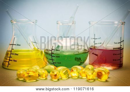 Oil Capsules And Flask Chemical