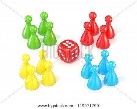 Ludo board game figurines. 3D