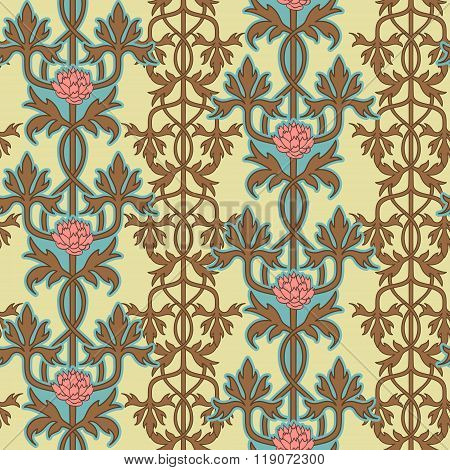 Vintage seamless pattern, art nouveau ornament. Vector illustration.
