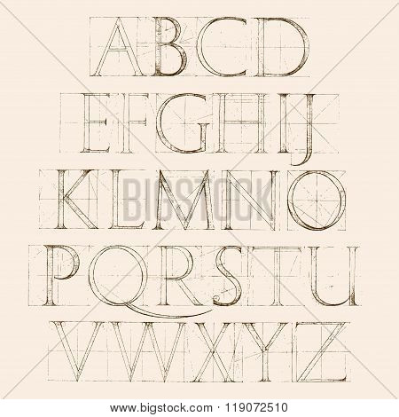 Font Antiqua. Hand Drawn Construction Sketch