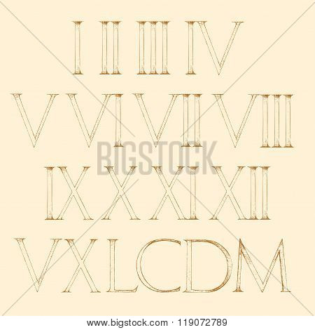 Roman Numbers Set. Modern Roman Classic Number
