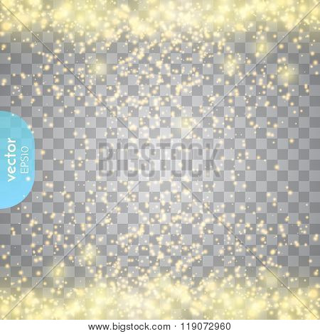 Abstract Transparent Sparkle Glow Light Effect. Fray Christmas Light Golden Design.