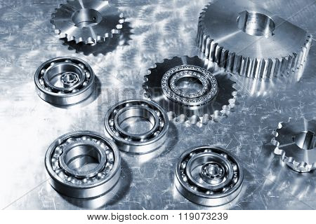 aerospace technology, ball-bearings and gears of titanium, bluish toning concept
