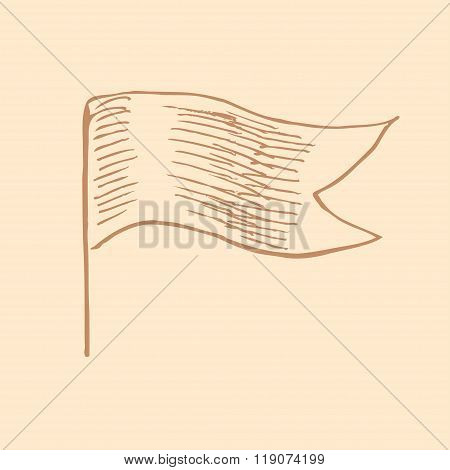 Vector Waving Flag In Vintage Engrave Style
