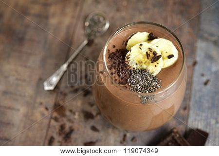 Chocolate Banana Smoothie With Chia Seed.