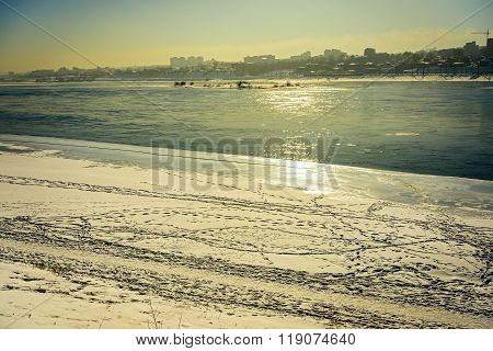 The River Angara In Irkutsk At Winter Sunset