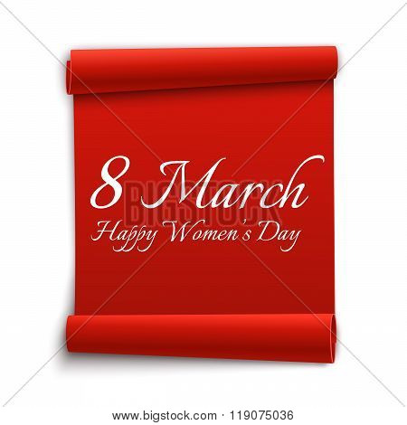8 March. Happy Women's Day, Greeting Card Template. Red Ribbon. Vector Illustration