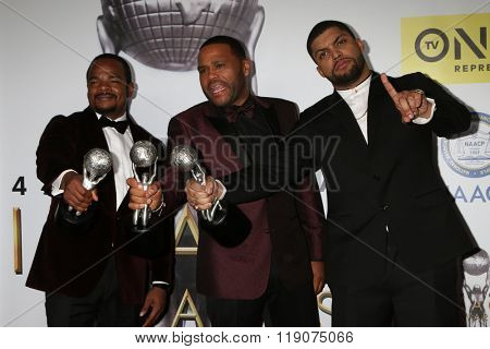 LOS ANGELES - FEB 5:  F Gary Gray, Anthony Anderson, O'Shea Jackson Jr. at the 47TH NAACP Image Awards Press Room at the Pasadena Civic Auditorium on February 5, 2016 in Pasadena, CA