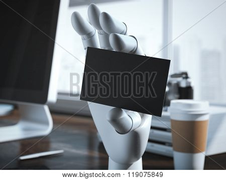 Robot hand with blank business card. 3d rendering