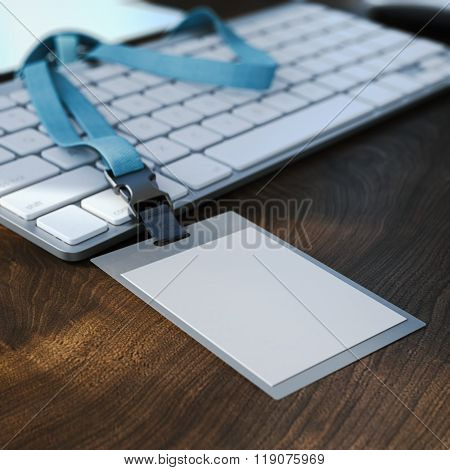 Blank white badge on the keyboard. 3d rendering