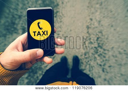 Using Smartphone Mobile App To Call Taxi
