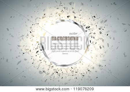 Vector Ring Background. Metal Chrome Shine Round Frame With Spark Light Effect And Big Explosion.