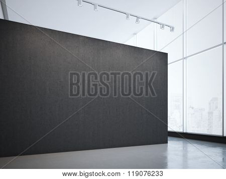 Modern bright gallery with black wall and spotlights. 3d rendering