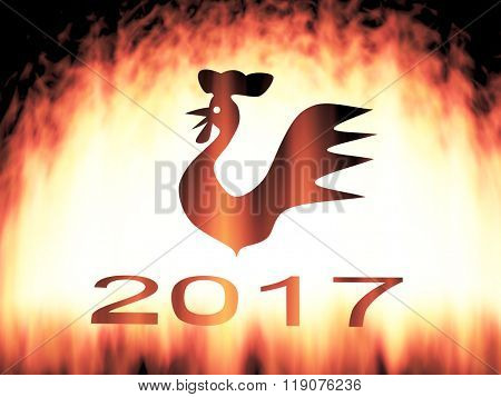silhouette in the background. year fire cock