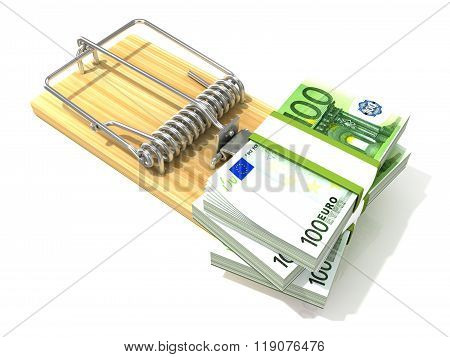 Stack of hundreds euros like bait in wooden mousetrap. 3D