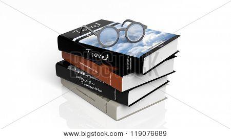 Eyeglasses set on stack of books,isolated on white background.