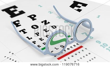 Pair of round-lens eyeglasses set on eyesight test with letters and numbers