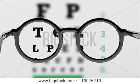 Pair of round-lens eyeglasses with eyesight test and partial blur