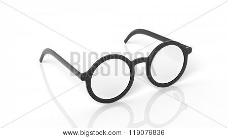 Pair of black round-lens eyeglasses, isolated on white background.