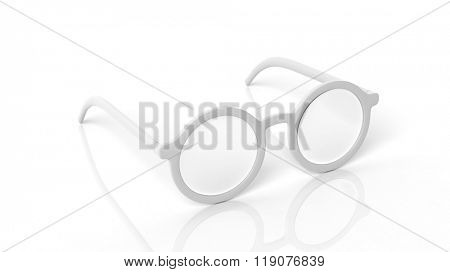 Pair of white round-lens eyeglasses, isolated on white background.