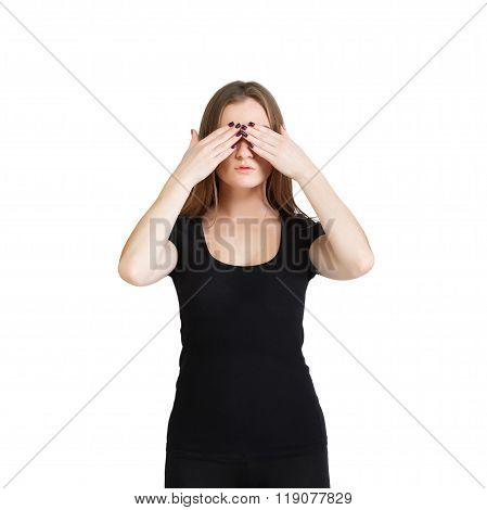Young Woman Hides Her Eyes With Hands